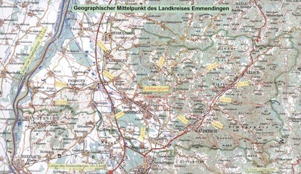 Karte vom geografichen Mittelpunkt